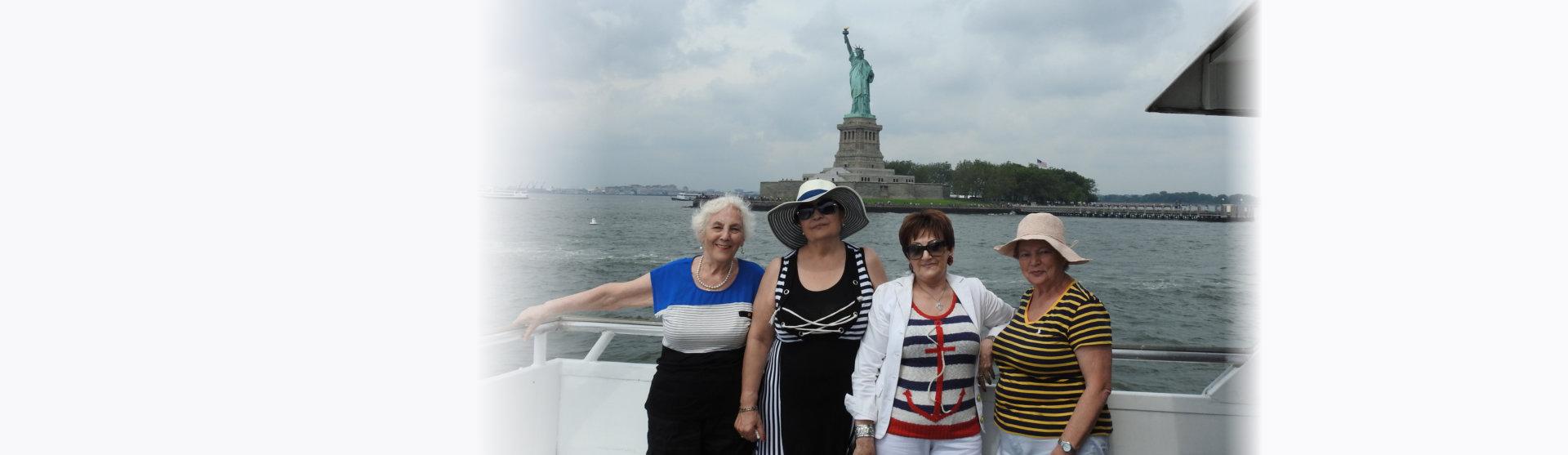 elderly women posing in a yacht
